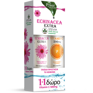 Power Health ΝΕΑ Echinacea Extra με Στέβια, 24eff.tabs + Δώρο Vitamin C 500mg 20eff.tabs