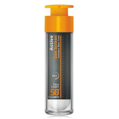 Frezyderm Active Sun Screen Innovative Black Face Cream SPF50+, 50ml
