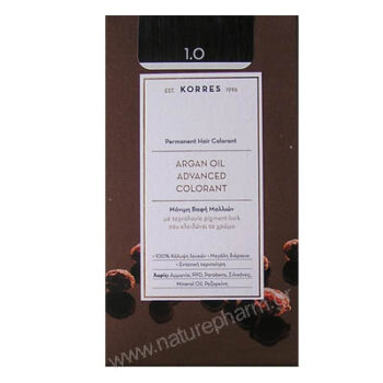 Korres Argan Oil Advanced Colorant Νέα Μόνιμη Βαφή Μαλλιών 1.0 Μαύρο Φυσικό