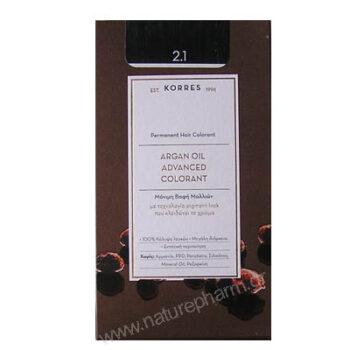 Korres Argan Oil Advanced Colorant Νέα Μόνιμη Βαφή Μαλλιών 3.0 Καστανό Σκούρο Φυσικό