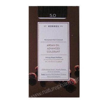 Korres Argan Oil Advanced Colorant Νέα Μόνιμη Βαφή Μαλλιών 5.0 Καστανό Ανοιχτό Φυσικό