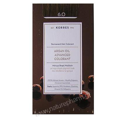 Korres Argan Oil Advanced Colorant Νέα Μόνιμη Βαφή Μαλλιών 6.0 Ξανθό Σκούρο Φυσικό