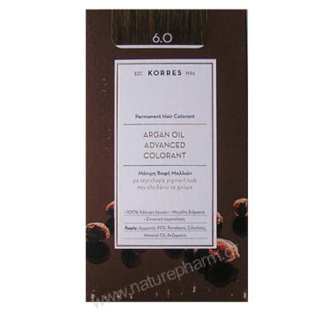 Korres Argan Oil Advanced Colorant Νέα Μόνιμη Βαφή Μαλλιών 6.4 Ξανθό Σκούρο Χάλκινο