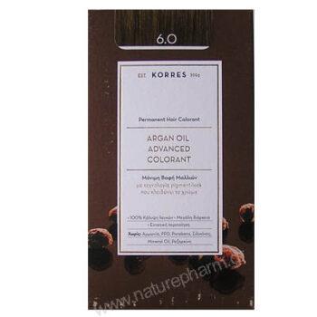 Korres Argan Oil Advanced Colorant Νέα Μόνιμη Βαφή Μαλλιών 6.7 Κακάο