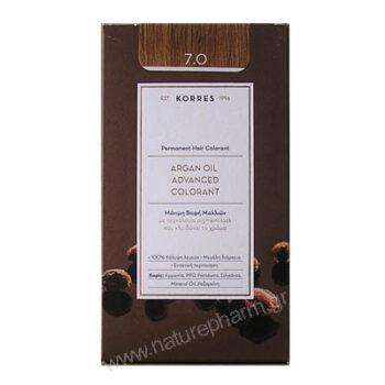 Korres Argan Oil Advanced Colorant Νέα Μόνιμη Βαφή Μαλλιών 7.0 Ξανθό Φυσικό