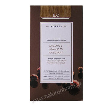 Korres Argan Oil Advanced Colorant Νέα Μόνιμη Βαφή Μαλλιών 8.3 Ξανθό Ανοιχτό Μελί
