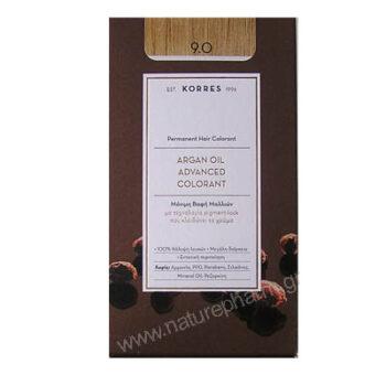 Korres Argan Oil Advanced Colorant Νέα Μόνιμη Βαφή Μαλλιών 9.0 Κατάξανθο Φυσικό