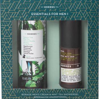 Korres ESSENTIALS FOR MEN I Borage Ανδρική Κρέμα SPF6 & Mint Tea Αφρόλουτρο