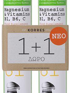 Korres Magnesium & Vitamins B1, B6, C, 2x12 αναβράζοντα δισκία