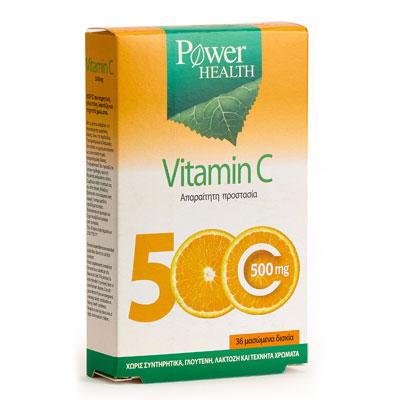 Power Health Vitamin C 500 mg, 36 μασώμενα δισκία για ενήλικες